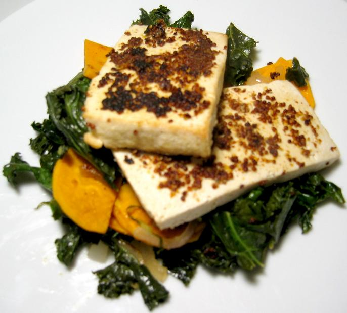 Mustard-crusted Tofu with Kale and Sweet Potato | Shack ...